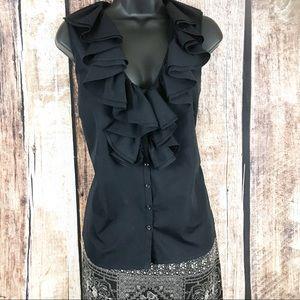 Ralph Lauren Ruffled Short Sleeve Blouse, Black